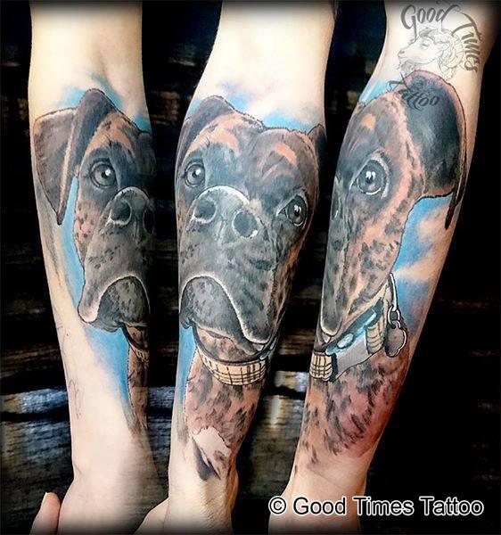 Hunde Portrait Tattoo von Good Times Tattoo Philippsthal