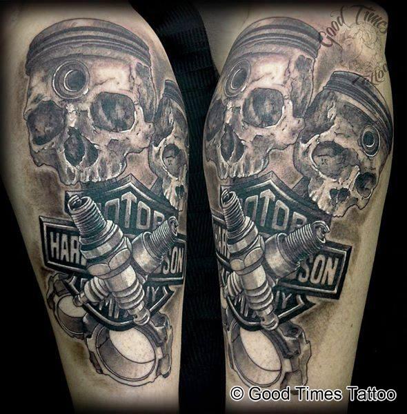 Harley Davidson Skulls Tattoo von Good Times Tattoo Philippsthal